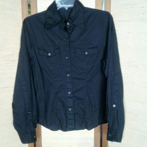 The Limited fitted button down blouse black M
